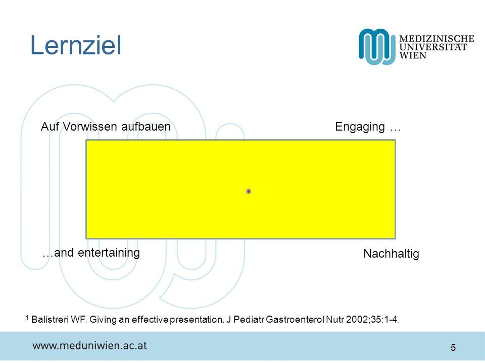 Lernziel 5 Auf Vorwissen aufbauen Nachhaltig Engaging … 1 Balistreri WF. Giving an effective presentation. J Pediatr Gastroenterol Nutr 2002;35:1-4. …
