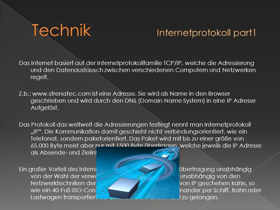 Das Internet basiert auf der Internetprotokollfamilie TCP/IP, welche die Adressierung und den Datenaustausch zwischen verschiedenen Computern und Netz