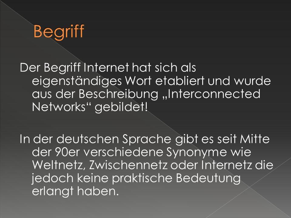 Der Begriff Internet hat sich als eigenständiges Wort etabliert und wurde aus der Beschreibung Interconnected Networks gebildet! In der deutschen Spra