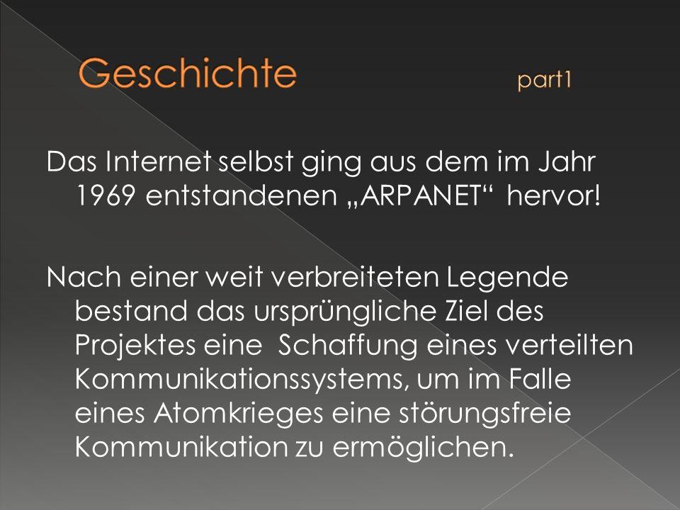 Das Internet selbst ging aus dem im Jahr 1969 entstandenen ARPANET hervor! Nach einer weit verbreiteten Legende bestand das ursprüngliche Ziel des Pro