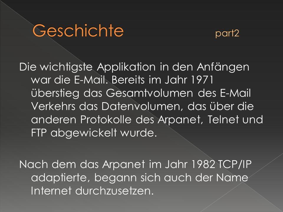 Die wichtigste Applikation in den Anfängen war die E-Mail. Bereits im Jahr 1971 überstieg das Gesamtvolumen des E-Mail Verkehrs das Datenvolumen, das