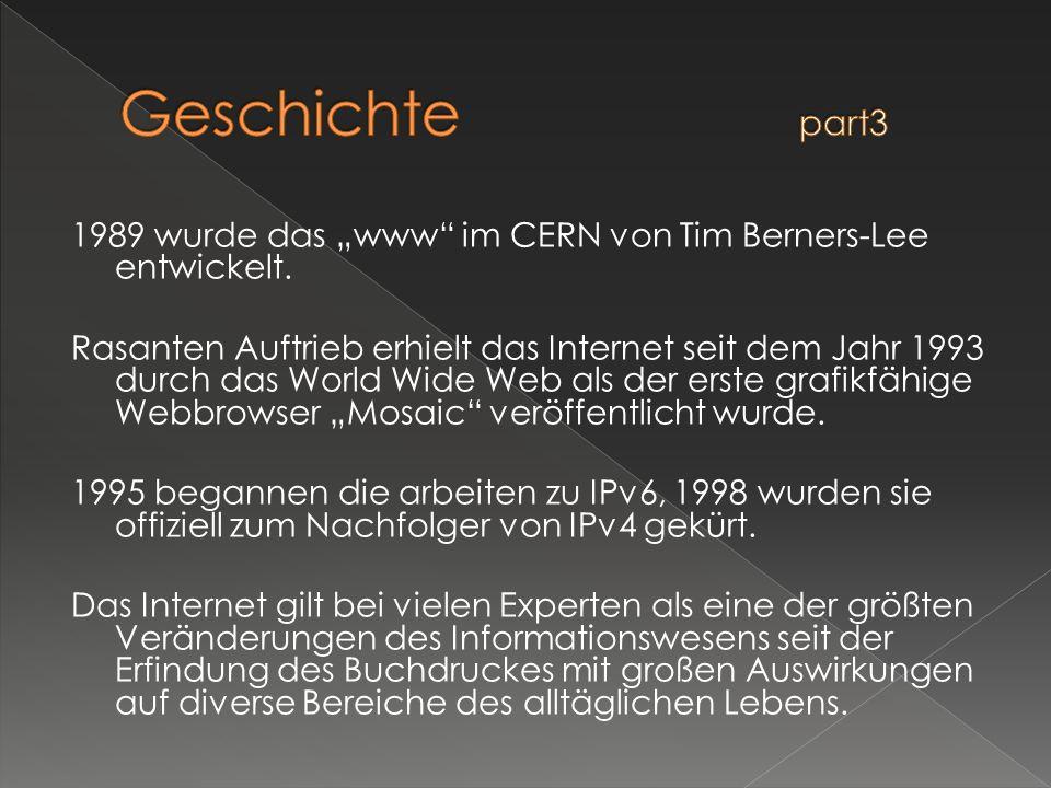 1989 wurde das www im CERN von Tim Berners-Lee entwickelt. Rasanten Auftrieb erhielt das Internet seit dem Jahr 1993 durch das World Wide Web als der