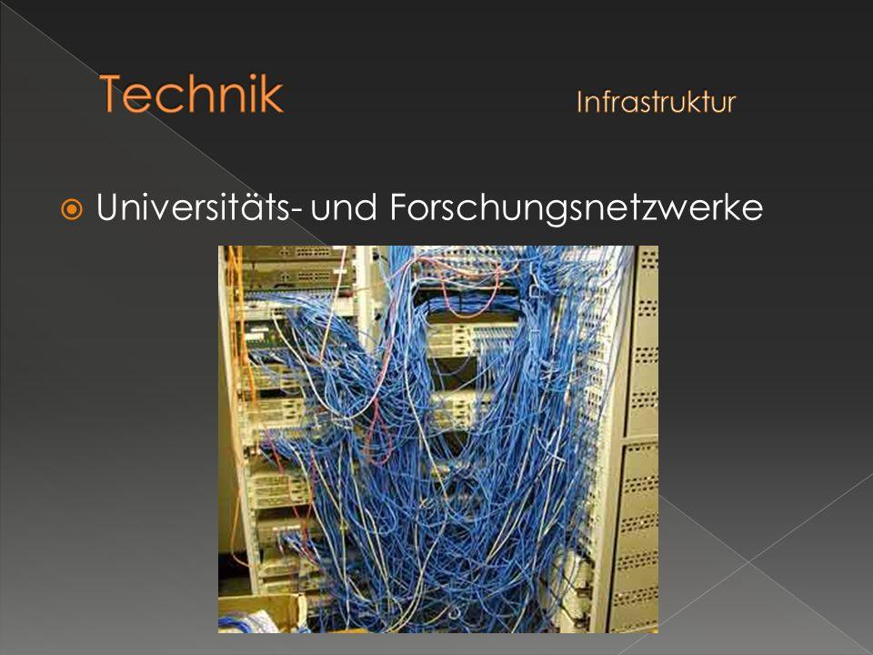 Physikalisch besteht das Internet im Kernbereich hauptsächlich aus Glasfaserkabeln die durch Router zu einem Netz verbunden sind.