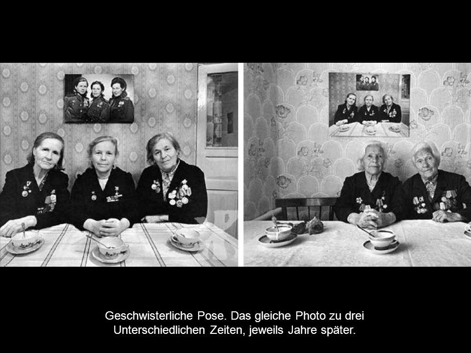 Geschwisterliche Pose. Das gleiche Photo zu drei Unterschiedlichen Zeiten, jeweils Jahre später.