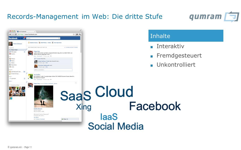 © qumram AG - Page 11 Records-Management im Web: Die dritte Stufe Inhalte Interaktiv Fremdgesteuert Unkontrolliert