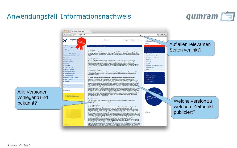 © qumram AG - Page 8 Anwendungsfall Informationsnachweis Auf allen relevanten Seiten verlinkt.