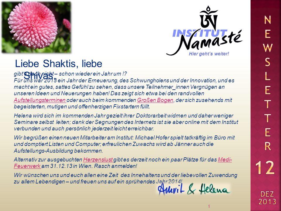 Liebe Shaktis, liebe Shivas, 1 gibts doch nicht – schon wieder ein Jahr um !? Für uns war 2013 ein Jahr der Erneuerung, des Schwungholens und der Inno
