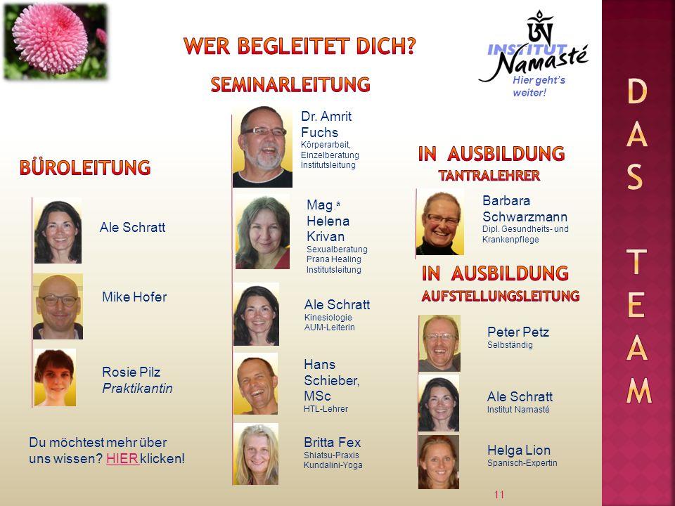 11 Ale Schratt Dr. Amrit Fuchs Körperarbeit, Einzelberatung Institutsleitung Mike Hofer Mag. a Helena Krivan Sexualberatung Prana Healing Institutslei