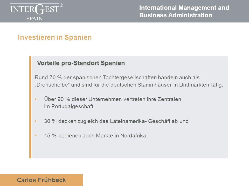 International Management and Business Administration Carlos Frühbeck Vorteile pro-Standort Spanien Rund 70 % der spanischen Tochtergesellschaften hand