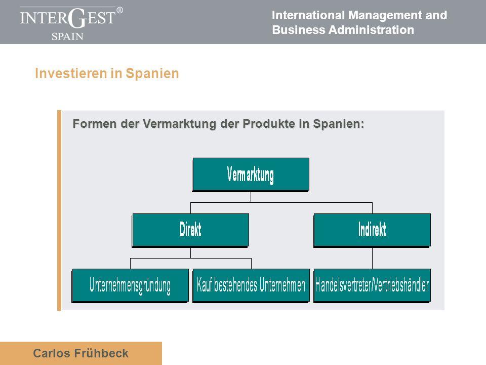 International Management and Business Administration Carlos Frühbeck Formen der Vermarktung der Produkte in Spanien: Formen der Vermarktung der Produkte in Spanien: Investieren in Spanien