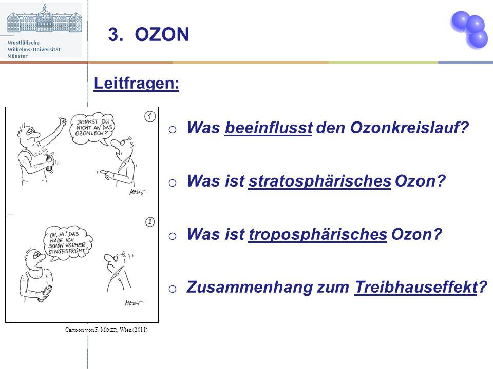 3. OZON Leitfragen: o Was beeinflusst den Ozonkreislauf? o Was ist stratosphärisches Ozon? o Was ist troposphärisches Ozon? o Zusammenhang zum Treibha
