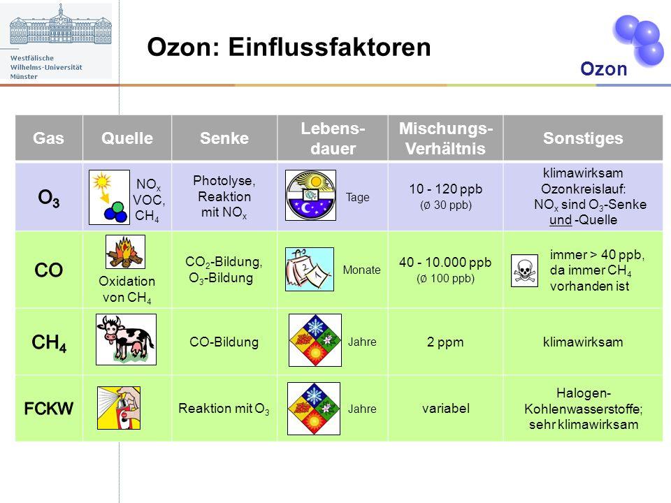 Ozon: Einflussfaktoren A Ozon GasQuelleSenke Lebens- dauer Mischungs- Verhältnis Sonstiges NO x VOC, CH 4 Photolyse, Reaktion mit NO x Tage 10 - 120 p