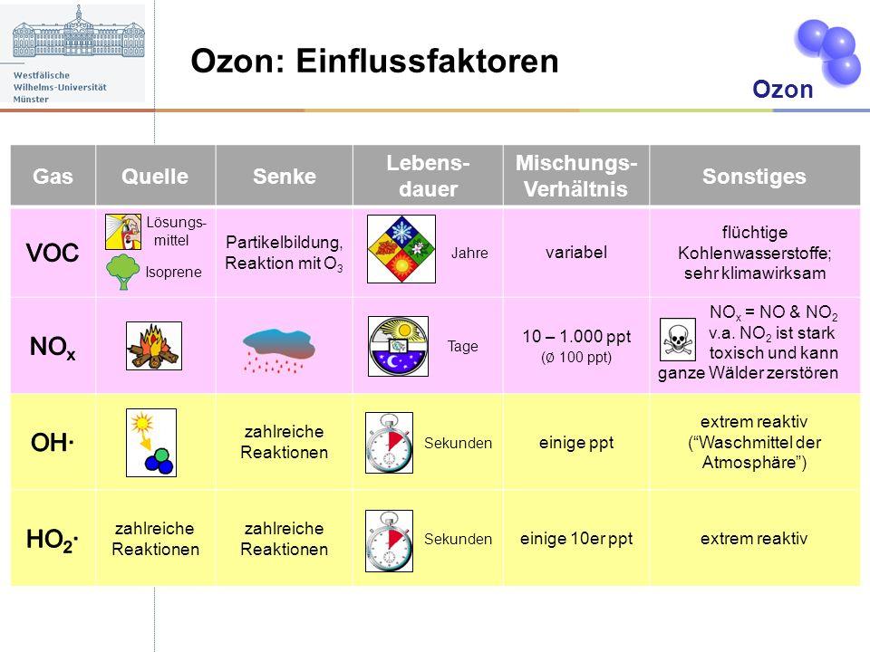 Ozon: Einflussfaktoren A Ozon GasQuelleSenke Lebens- dauer Mischungs- Verhältnis Sonstiges Lösungs- mittel Isoprene Partikelbildung, Reaktion mit O 3