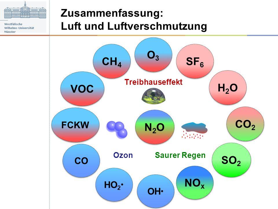 Zusammenfassung: Luft und Luftverschmutzung Saurer Regen Ozon Treibhauseffekt HO 2 SO 2 O3O3 O3O3 OH CO H2OH2O H2OH2O SF 6 CH 4 VOC FCKW NO x CO 2 N2O