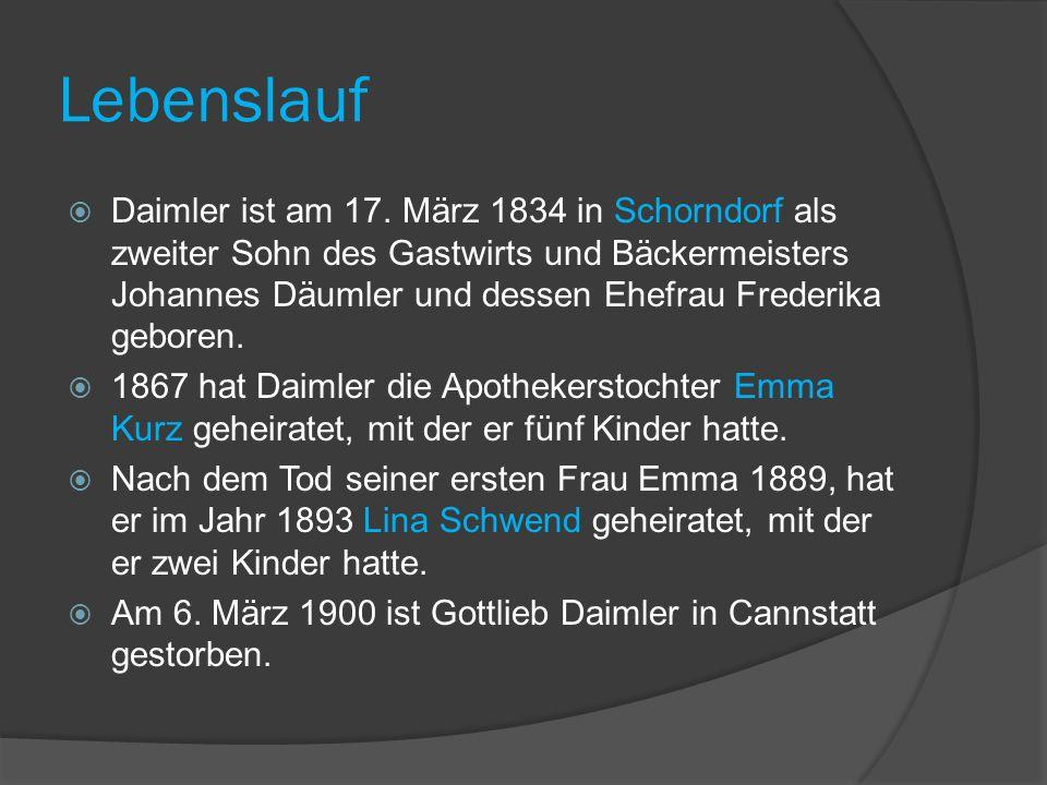 Lebenslauf Daimler ist am 17.
