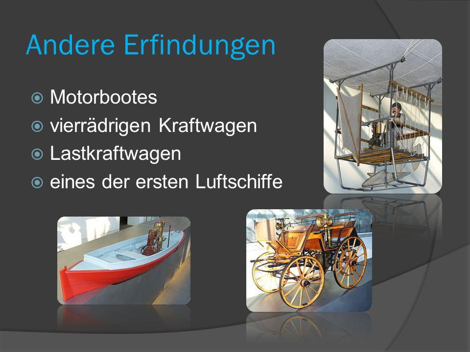 Andere Erfindungen Motorbootes vierrädrigen Kraftwagen Lastkraftwagen eines der ersten Luftschiffe