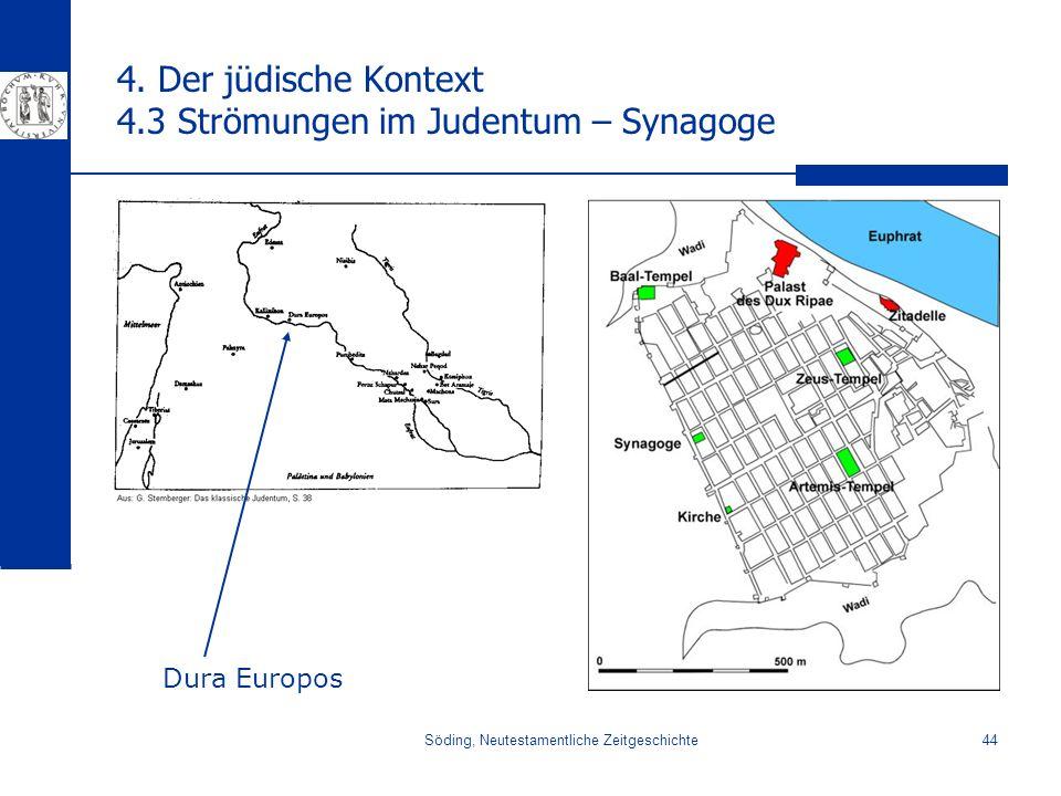 Söding, Neutestamentliche Zeitgeschichte44 4. Der jüdische Kontext 4.3 Strömungen im Judentum – Synagoge Dura Europos