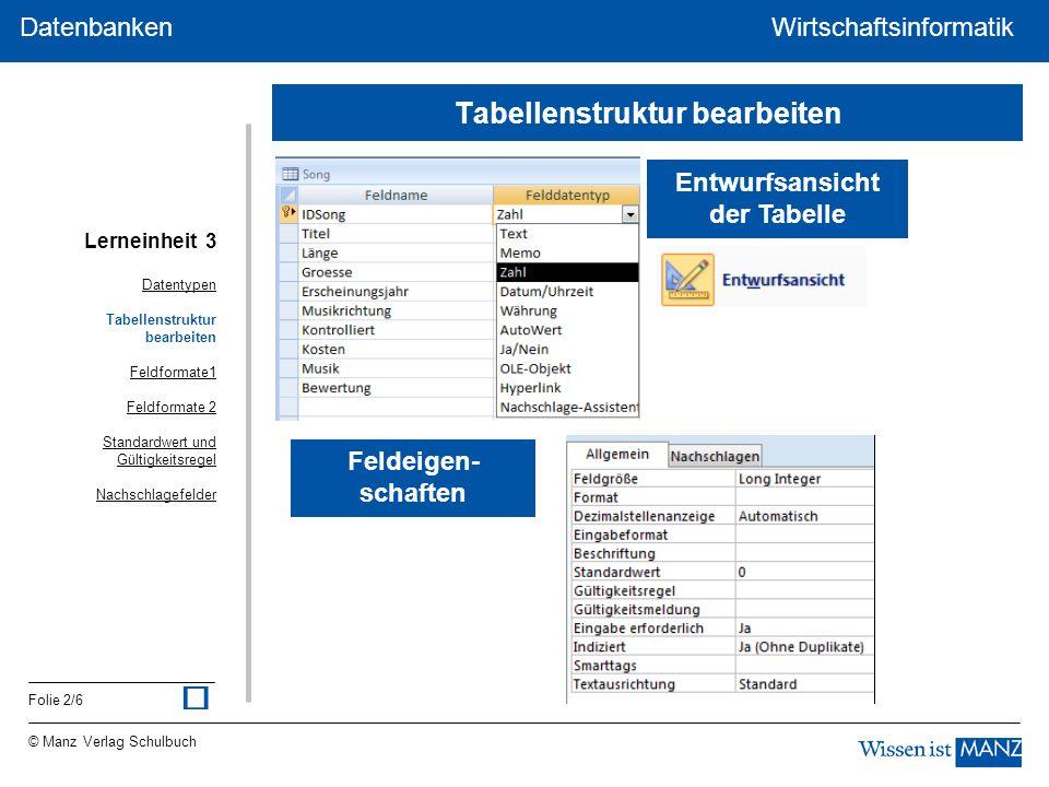 © Manz Verlag Schulbuch Wirtschaftsinformatik Folie 2/6 Datenbanken WirtschaftsinformatikDatenbanken Entwurfsansicht der Tabelle Feldeigen- schaften D