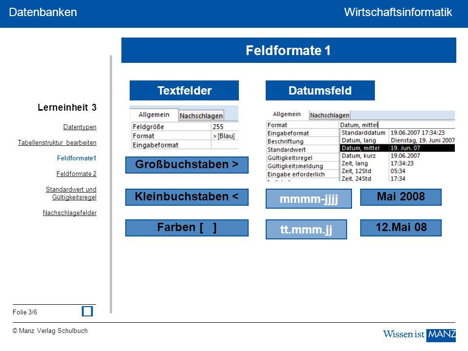 © Manz Verlag Schulbuch Wirtschaftsinformatik Folie 3/6 Datenbanken WirtschaftsinformatikDatenbanken Textfelder Großbuchstaben > Kleinbuchstaben < Far