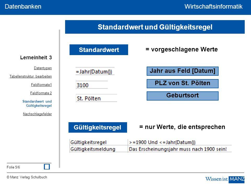 © Manz Verlag Schulbuch Wirtschaftsinformatik Folie 5/6 Datenbanken WirtschaftsinformatikDatenbanken Standardwert = vorgeschlagene Werte Jahr aus Feld