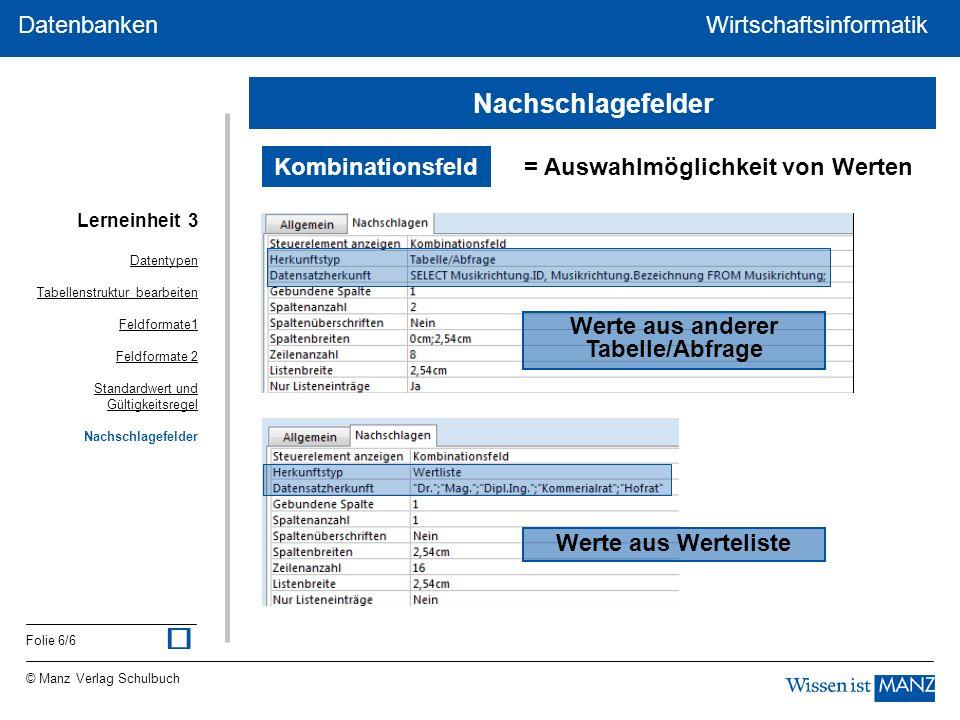 © Manz Verlag Schulbuch Wirtschaftsinformatik Folie 6/6 Datenbanken WirtschaftsinformatikDatenbanken Kombinationsfeld = Auswahlmöglichkeit von Werten