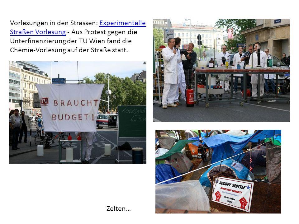 Vorlesungen in den Strassen: Experimentelle Straßen Vorlesung - Aus Protest gegen die Unterfinanzierung der TU Wien fand die Chemie-Vorlesung auf der
