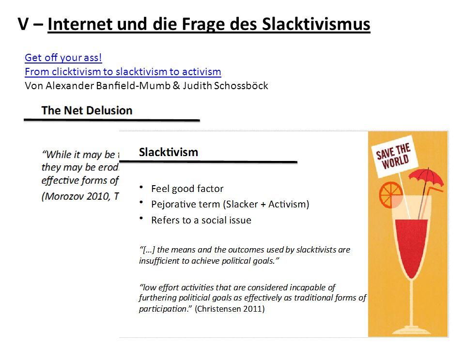 V – Internet und die Frage des Slacktivismus Get o your ass! From clicktivism to slacktivism to activism Von Alexander Baneld-Mumb & Judith Schossböck