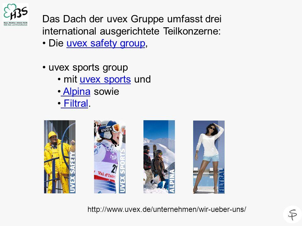 http://www.uvex.de/unternehmen/wir-ueber-uns/ Das Dach der uvex Gruppe umfasst drei international ausgerichtete Teilkonzerne: Die uvex safety group,uv