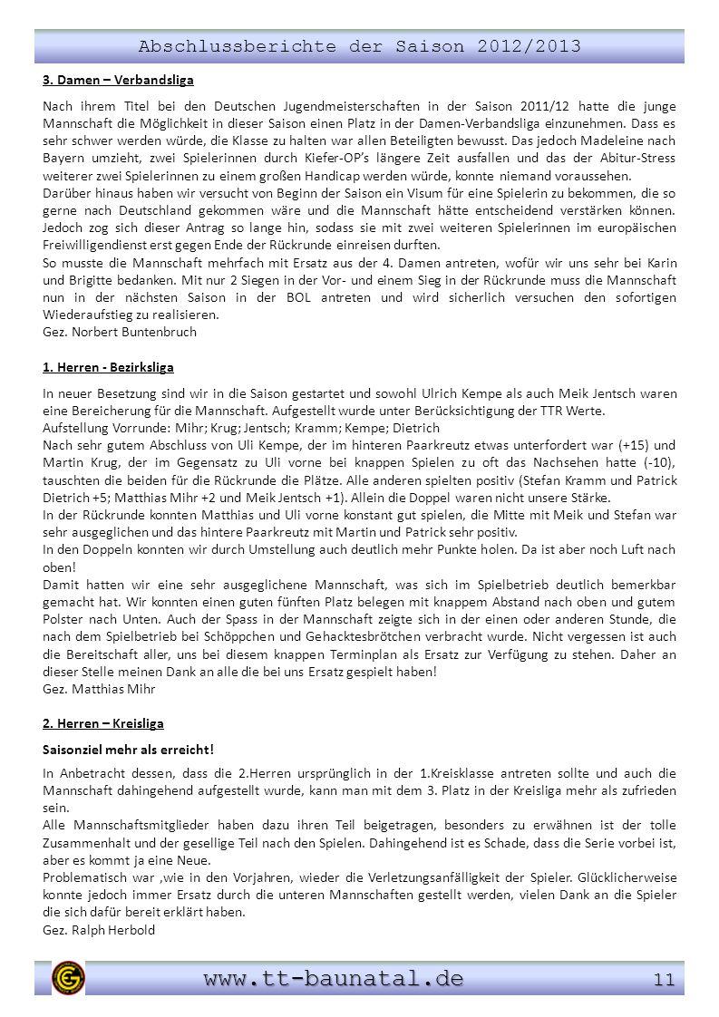 Abschlussberichte der Saison 2012/2013 www.tt-baunatal.de 11 www.tt-baunatal.de 11 3. Damen – Verbandsliga Nach ihrem Titel bei den Deutschen Jugendme