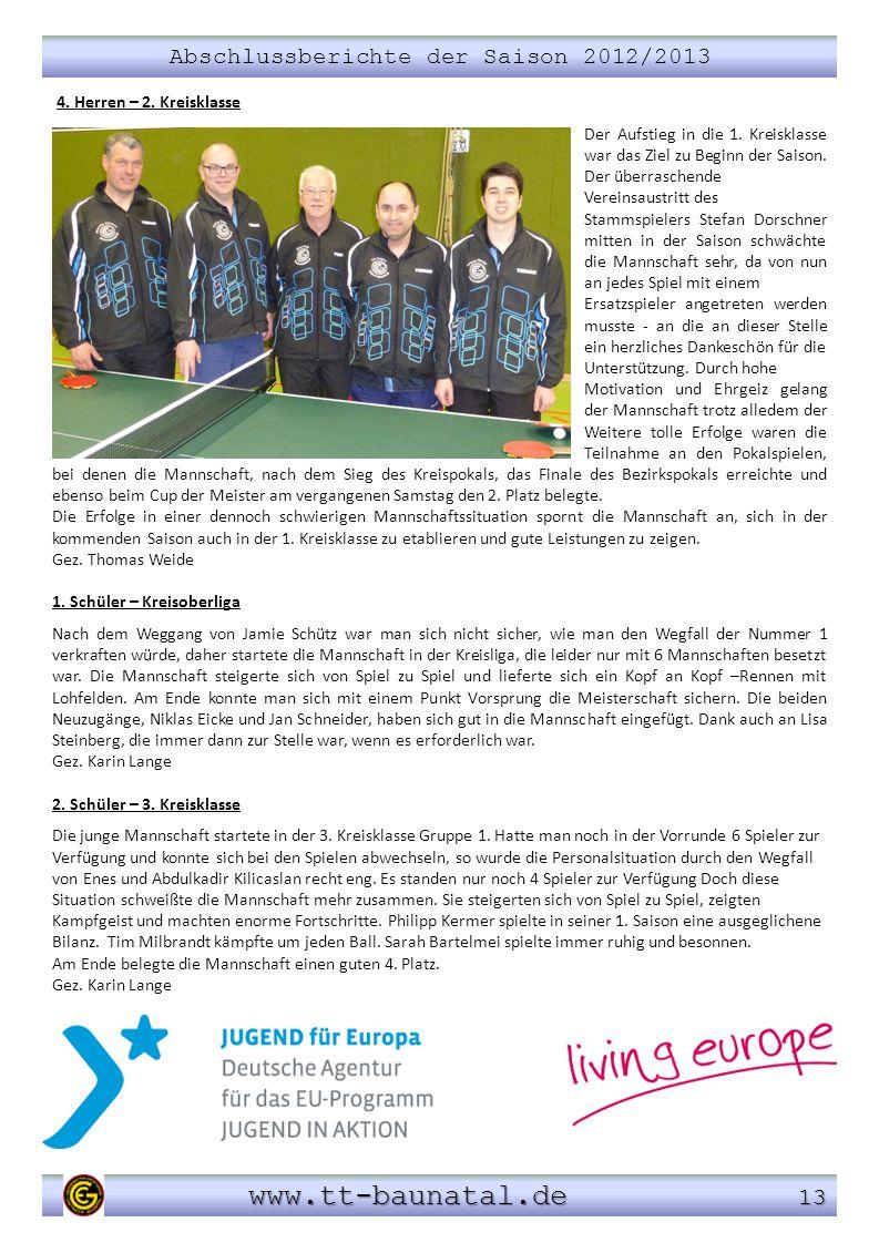 Abschlussberichte der Saison 2012/2013 www.tt-baunatal.de 13 www.tt-baunatal.de 13 4. Herren – 2. Kreisklasse Der Aufstieg in die 1. Kreisklasse war d