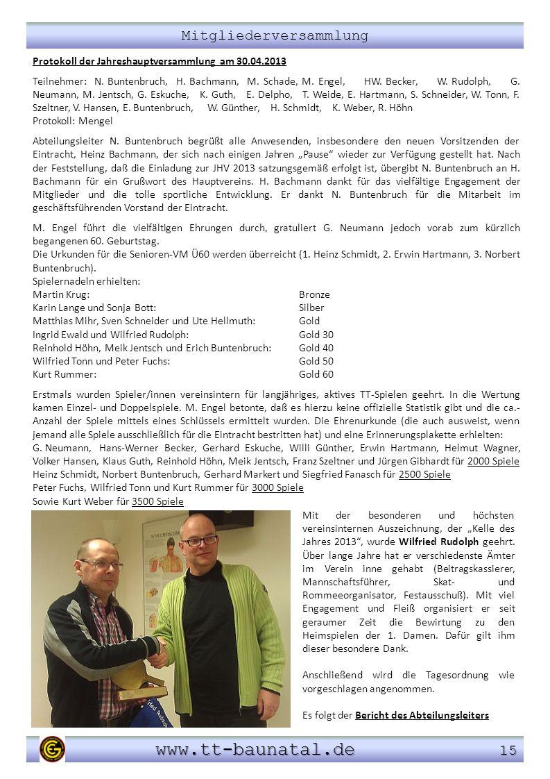 Mitgliederversammlung www.tt-baunatal.de 15 www.tt-baunatal.de 15 Protokoll der Jahreshauptversammlung am 30.04.2013 Teilnehmer: N. Buntenbruch, H. Ba
