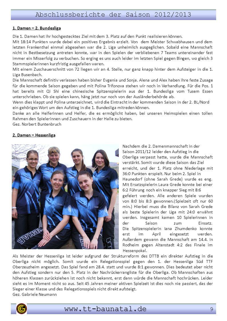 Abschlussberichte der Saison 2012/2013 www.tt-baunatal.de www.tt-baunatal.de 9 1. Damen – 2. Bundesliga Die 1. Damen hat ihr hochgestecktes Ziel mit d