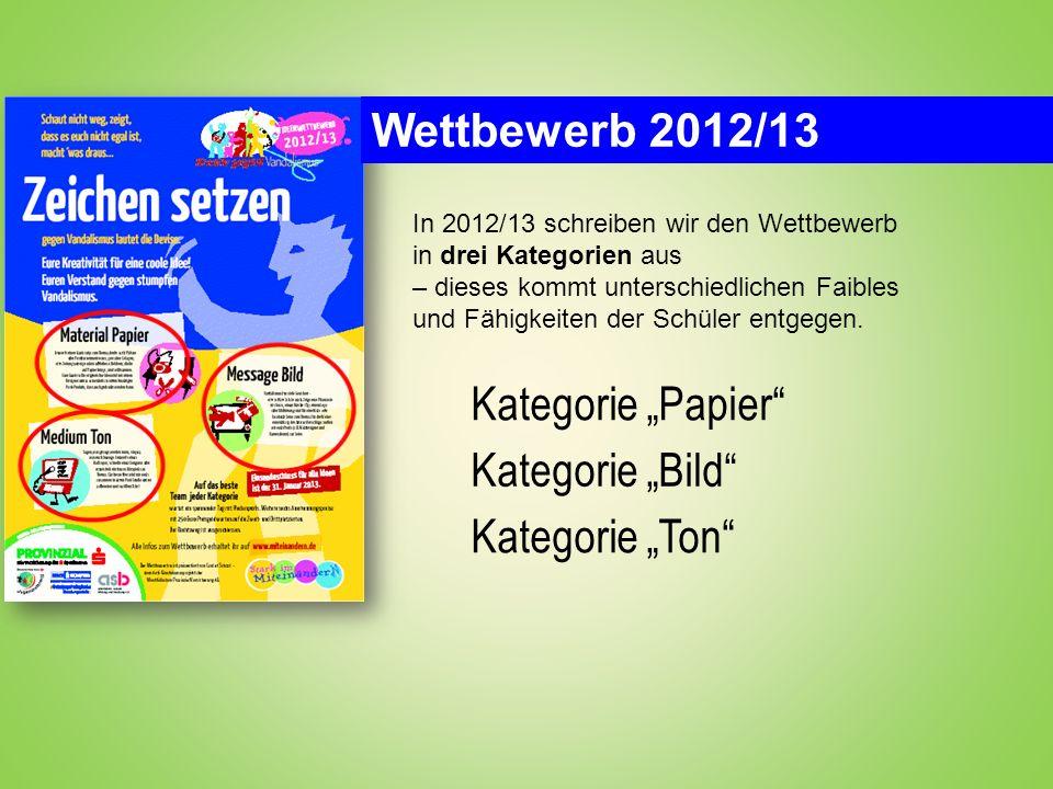 Wettbewerb 2012/13 In 2012/13 schreiben wir den Wettbewerb in drei Kategorien aus – dieses kommt unterschiedlichen Faibles und Fähigkeiten der Schüler