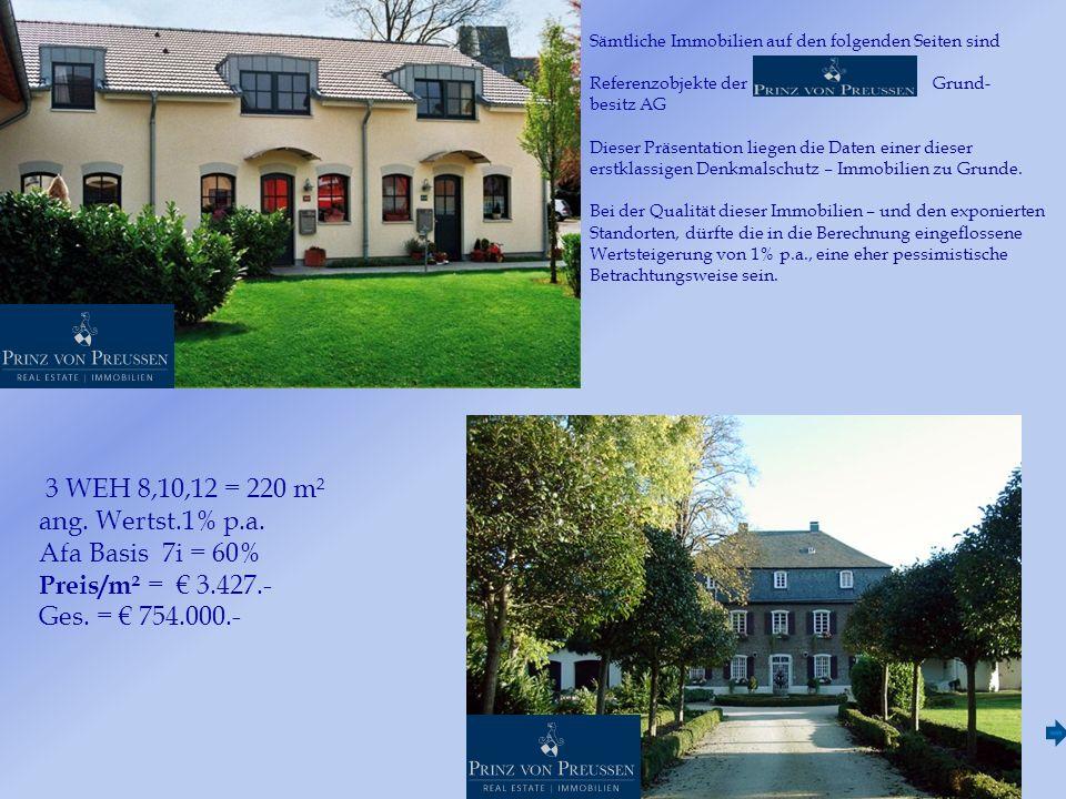 Sämtliche Immobilien auf den folgenden Seiten sind Referenzobjekte der Grund- besitz AG Dieser Präsentation liegen die Daten einer dieser erstklassigen Denkmalschutz – Immobilien zu Grunde.