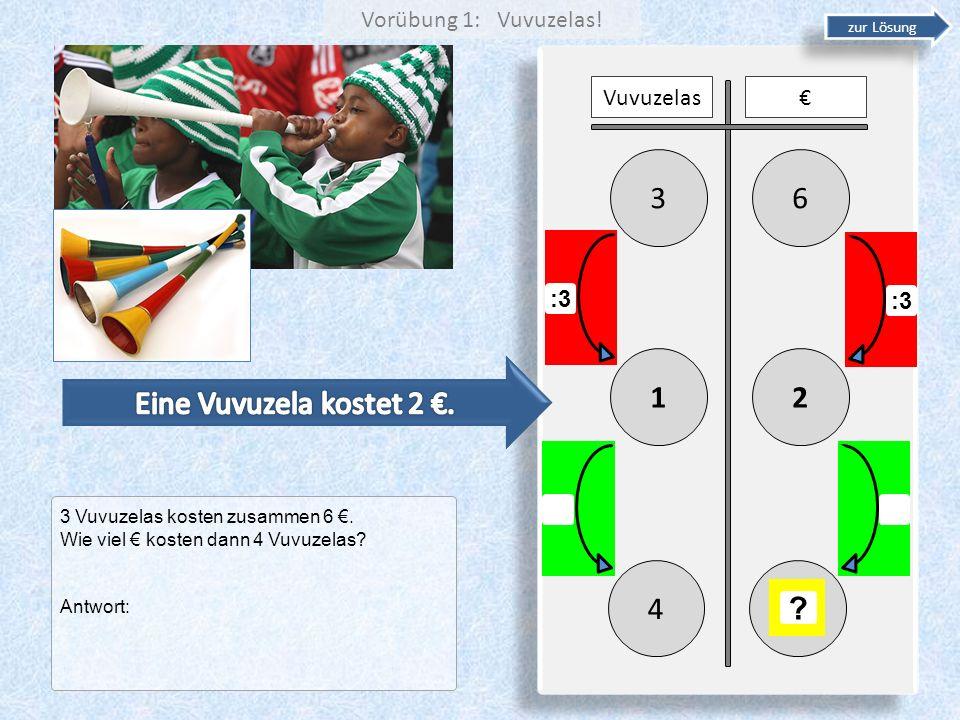 63 21 Vuvuzelas :3 4 ? zur Lösung 3 Vuvuzelas kosten zusammen 6. Wie viel kosten dann 4 Vuvuzelas? Antwort: Vorübung 1: Vuvuzelas!