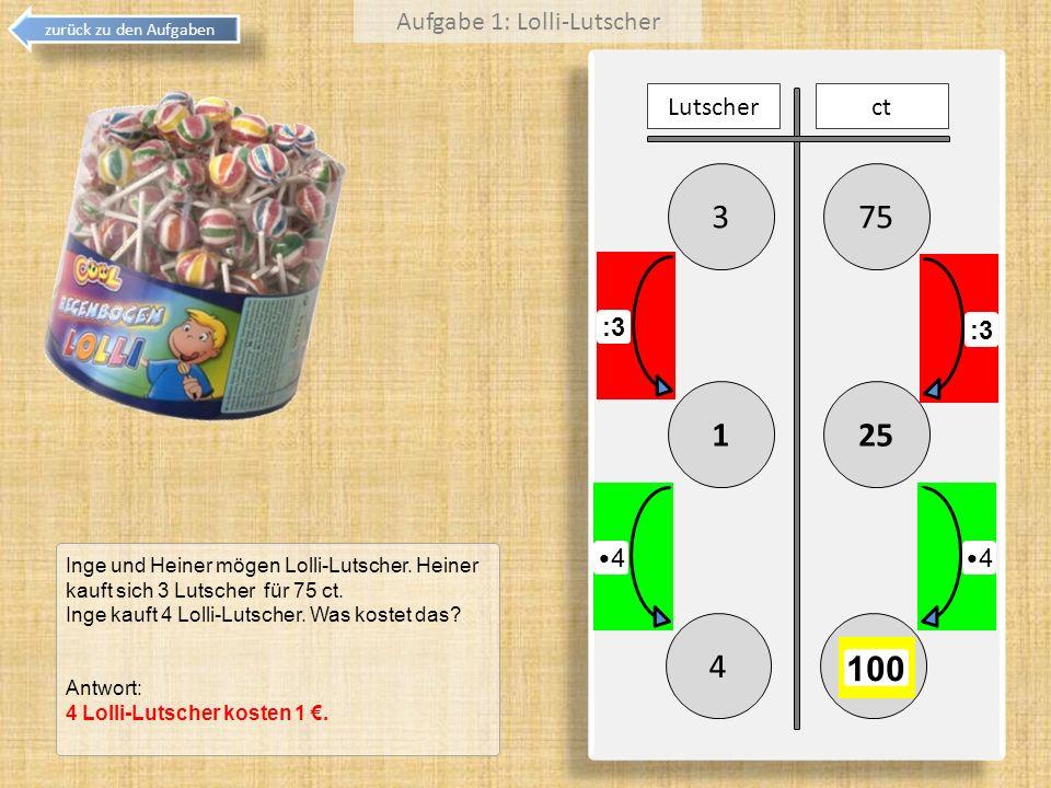 753 251 Lutscherct :3 4 100 Inge und Heiner mögen Lolli-Lutscher. Heiner kauft sich 3 Lutscher für 75 ct. Inge kauft 4 Lolli-Lutscher. Was kostet das?