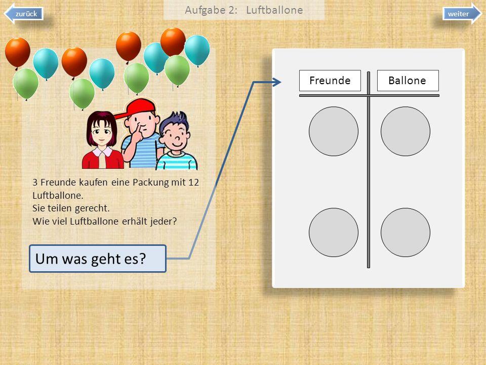 weiter zurück FreundeBallone 3 Freunde kaufen eine Packung mit 12 Luftballone. Sie teilen gerecht. Wie viel Luftballone erhält jeder? Aufgabe 2: Luftb