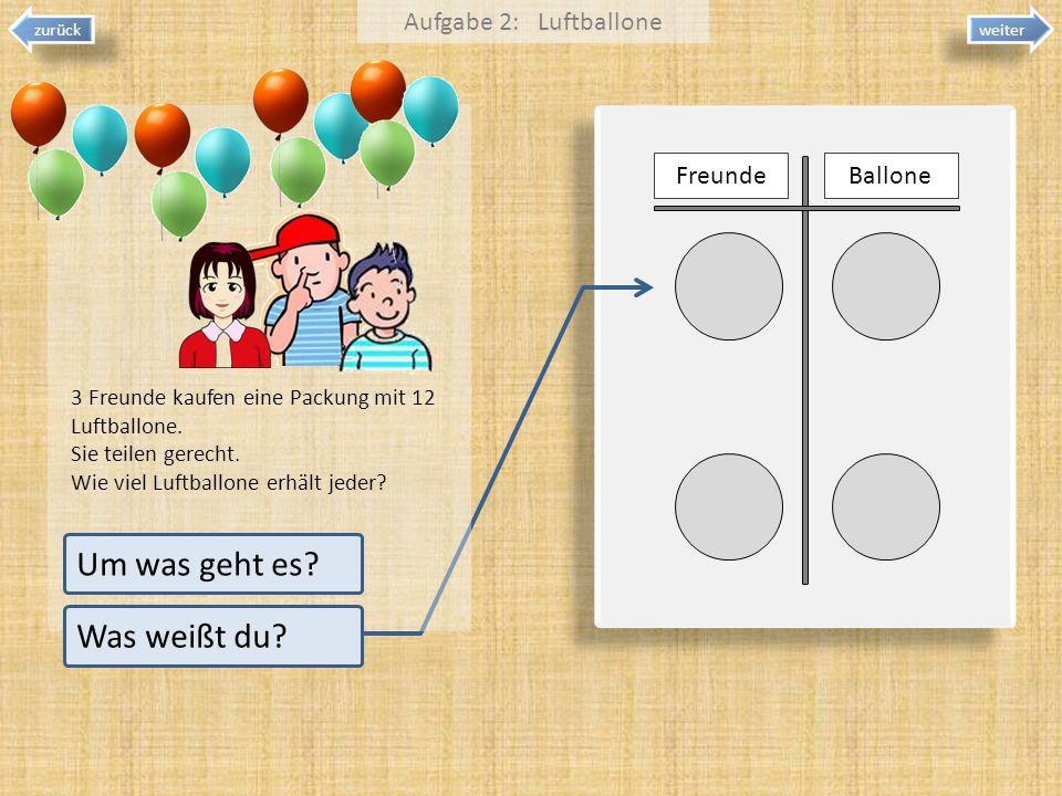 weiter zurück 3 Freunde kaufen eine Packung mit 12 Luftballone. Sie teilen gerecht. Wie viel Luftballone erhält jeder? Aufgabe 2: Luftballone Um was g