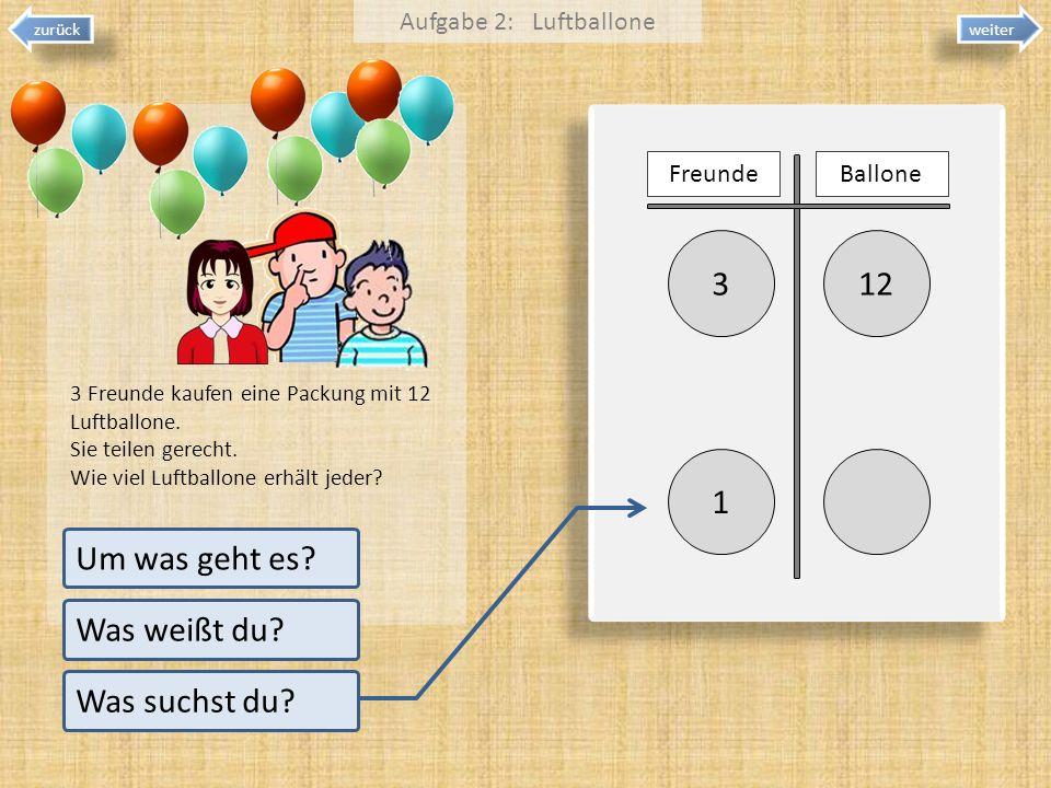 123 1 weiter zurück Um was geht es? Was weißt du? Was suchst du? 3 Freunde kaufen eine Packung mit 12 Luftballone. Sie teilen gerecht. Wie viel Luftba