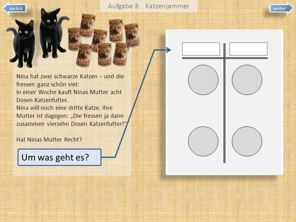 weiter zurück Um was geht es? Aufgabe 3: Katzenjammer Nina hat zwei schwarze Katzen – und die fressen ganz schön viel: In einer Woche kauft Ninas Mutt