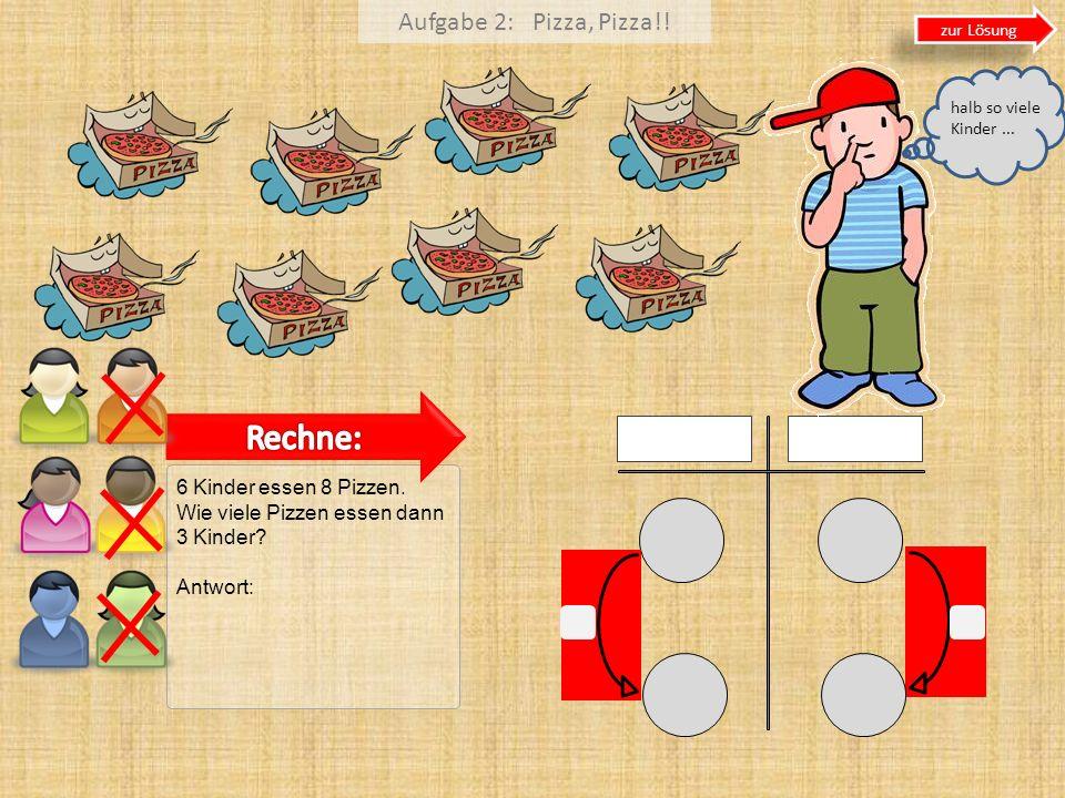 Aufgabe 2: Pizza, Pizza!! 6 Kinder essen 8 Pizzen. Wie viele Pizzen essen dann 3 Kinder? Antwort: zur Lösung halb so viele Kinder...