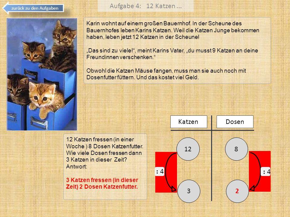 Aufgabe 4: 12 Katzen... zurück zu den Aufgaben Karin wohnt auf einem großen Bauernhof. In der Scheune des Bauernhofes leben Karins Katzen. Weil die Ka
