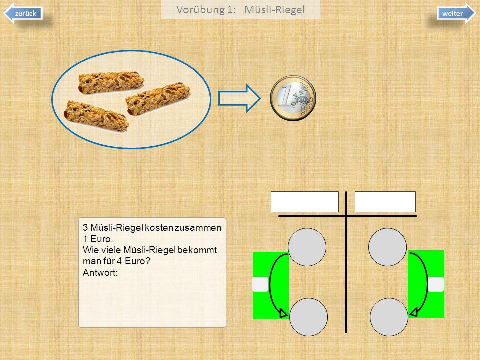 Vorübung 1: Müsli-Riegel 3 Müsli-Riegel kosten zusammen 1 Euro. Wie viele Müsli-Riegel bekommt man für 4 Euro? Antwort: zurück weiter