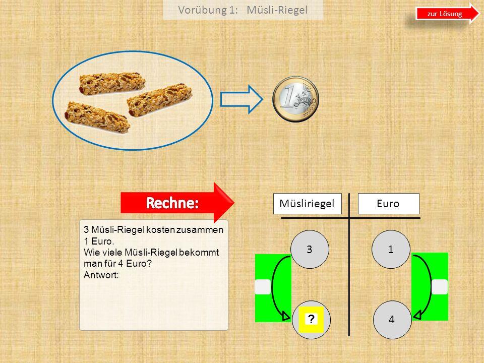 Vorübung 1: Müsli-Riegel 3 Müsli-Riegel kosten zusammen 1 Euro. Wie viele Müsli-Riegel bekommt man für 4 Euro? Antwort: 13 Müsliriegel Euro 4 ? zur Lö