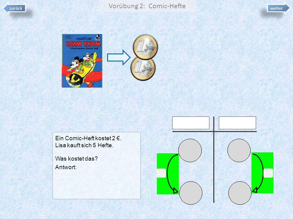 Vorübung 2: Comic-Hefte Ein Comic-Heft kostet 2. Lisa kauft sich 5 Hefte. Was kostet das? Antwort: zurück weiter