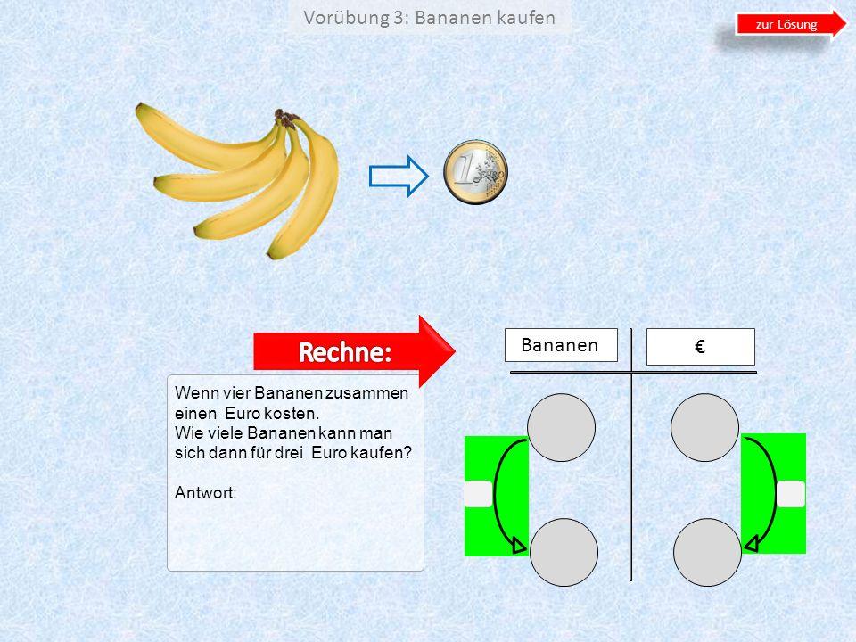 Vorübung 3: Bananen kaufen Wenn vier Bananen zusammen einen Euro kosten. Wie viele Bananen kann man sich dann für drei Euro kaufen? Antwort: Bananen z