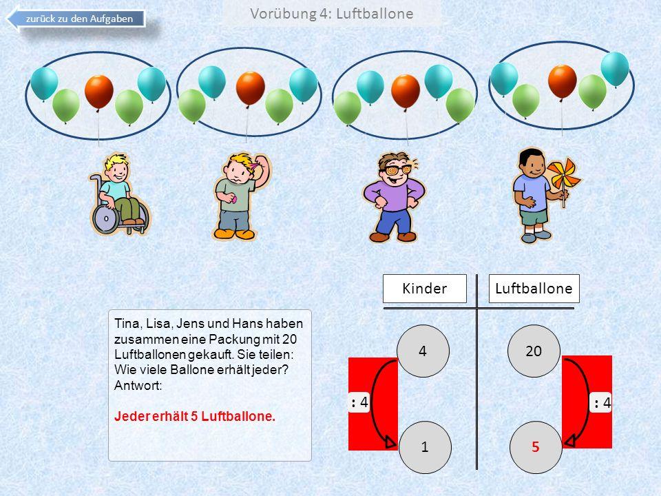Vorübung 4: Luftballone zurück zu den Aufgaben Tina, Lisa, Jens und Hans haben zusammen eine Packung mit 20 Luftballonen gekauft. Sie teilen: Wie viel