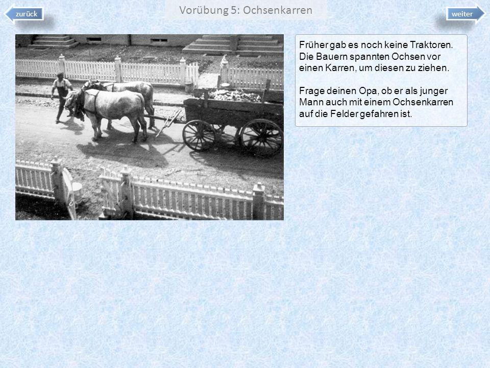 Vorübung 5: Ochsenkarren Früher gab es noch keine Traktoren. Die Bauern spannten Ochsen vor einen Karren, um diesen zu ziehen. Frage deinen Opa, ob er