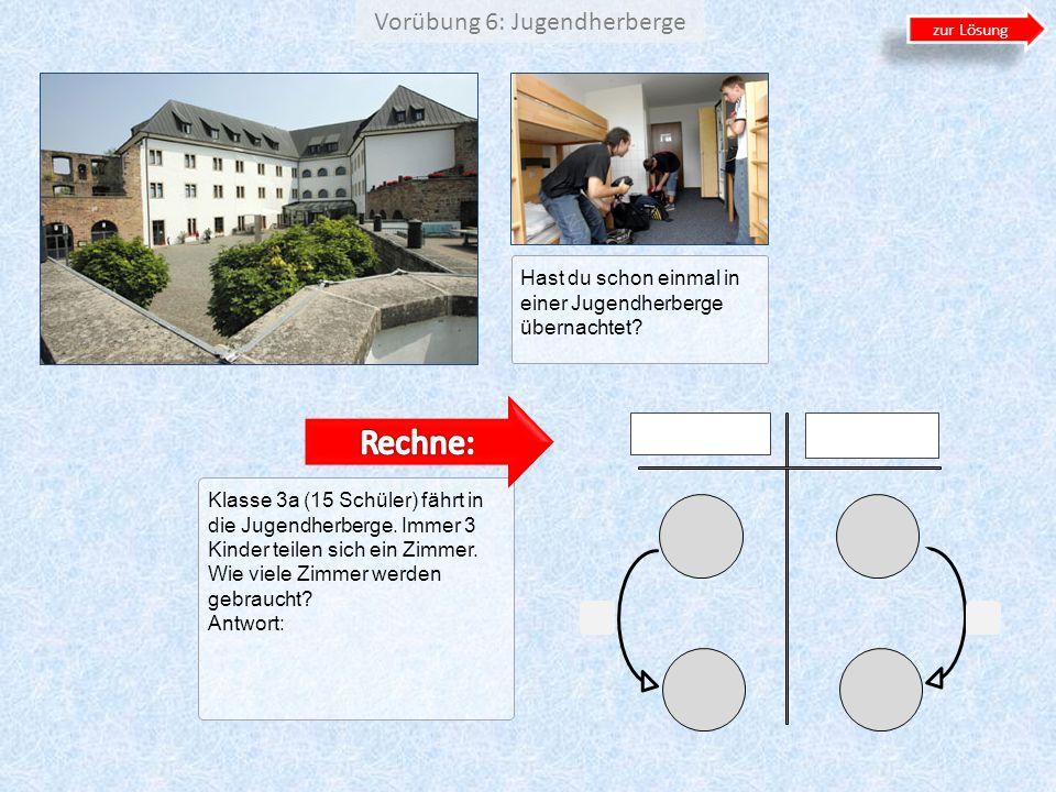 Vorübung 6: Jugendherberge Klasse 3a (15 Schüler) fährt in die Jugendherberge. Immer 3 Kinder teilen sich ein Zimmer. Wie viele Zimmer werden gebrauch