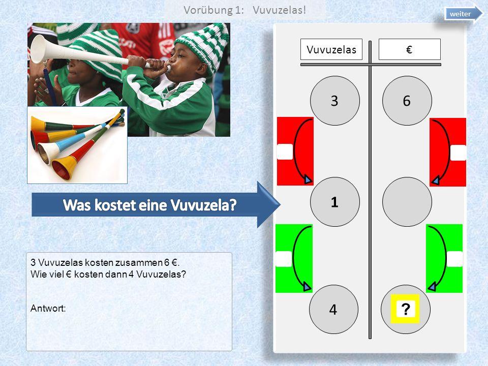 63 1 Vuvuzelas 4 ? 3 Vuvuzelas kosten zusammen 6. Wie viel kosten dann 4 Vuvuzelas? Antwort: weiter Vorübung 1: Vuvuzelas!
